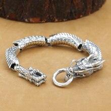 Браслет из тайского серебра 925 пробы с драконом ручной работы