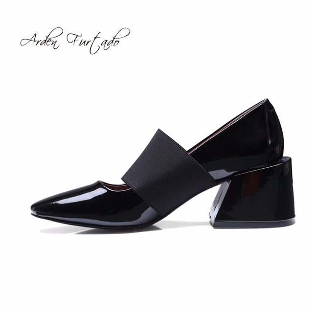 Arden Furt2017 spring and fall genuine cow leather buckle strap square toe  high heels 6cm fashion 696a615b5407