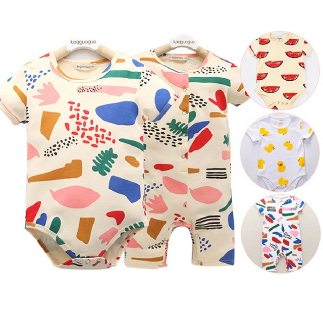 Baby Body Chromatic/watermelon Romper Baby Boys Girls Printed Summer Triangle Romper Short Sleeved One-Piece Jumpsuit
