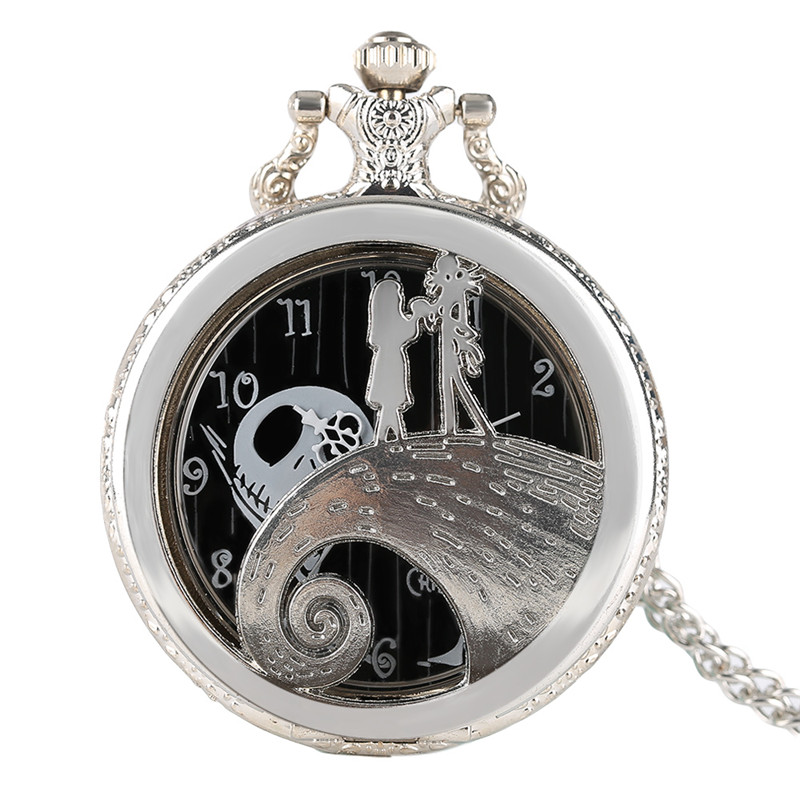 Luxury Silver Quartz Watch The Nightmare Before Christmas Theme Fashion Pocket Watch Chain Modern Necklace Pendant 2017 Gifts european and american movies aladdin and the magic lamp quartz pocket watch do the old flip quartz watch chain table ds274