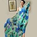 175*110 cm de Las Mujeres 100% Bufanda de Seda Femenina de Seda de Colores Bufandas Wraps Natural Delgada Más El Tamaño Floral Long Beach Chales Pashimina