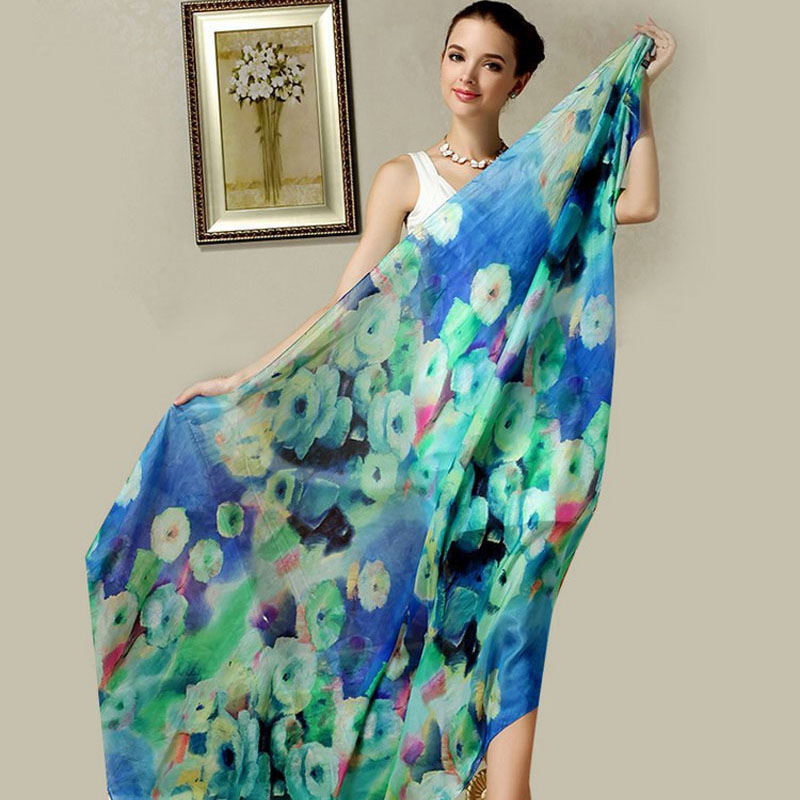 175*110 cm Women 100% Natural Silk Scarf Female Colorful Silk Scarves Wraps Thin Plus Size Floral Long Beach Pashimina Shawls
