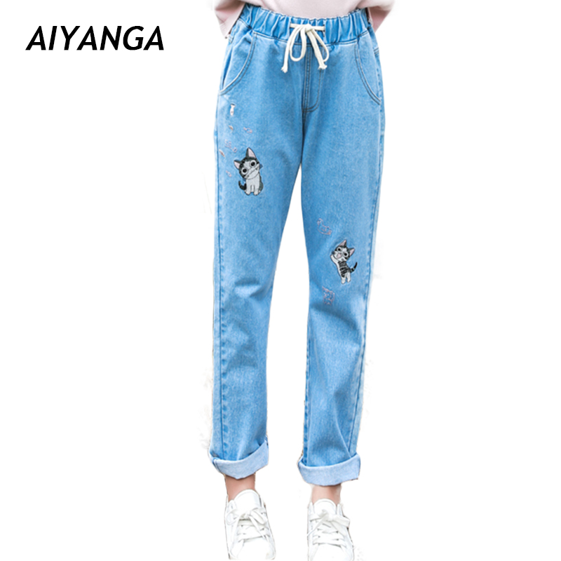 2018 New Spring Cute Cat Embroidery   Jeans   For Women Elastic Waist Ankle-Length Pants Casual Loose Denim Cotton Trousers