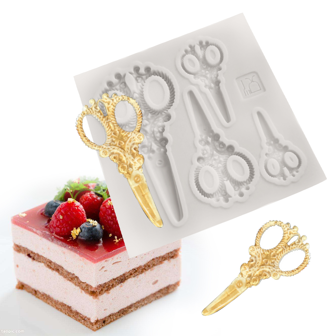 3d Retro Scissors Cake Silicone Baking Molds Fondant Cake Decorating Tools Candy Fimo Clay Mold Chocolate Gumpaste Moulds Xl351 Pottery & Ceramics
