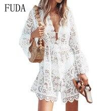 FUDA Lace Crochet Hollow Out Beach Dress Sexy Deep V-neck Long Sleeve Casual Sundress Women Elegant Boho Club Robe Longue