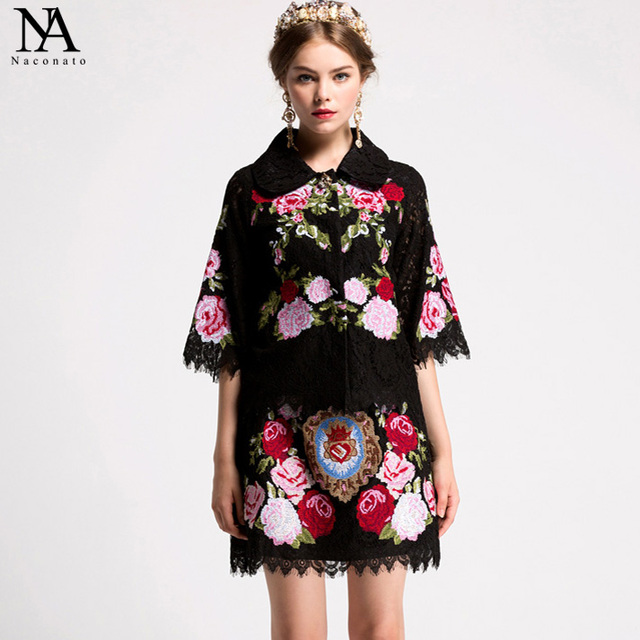 New Arrival 2018 Spring Women's Turn Down Collar 3/4 Sleeves Embroidery Lace Blouse With A Line Floral Skirt Runway Twinsets