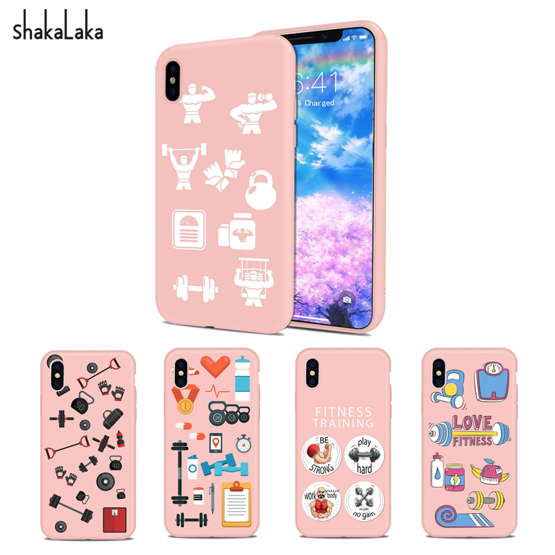 Cute Fitness equipment Phone Cover case for iPhone5 5s SE 6 6s 7 8 Plus X Soft Pink Silicone TPU capa coloful fundas lovly coque