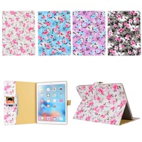 Flower Cloth Print Flip Stand PU Leather Card Holder Magnetic Smart Sleep Wake Up Cover Case
