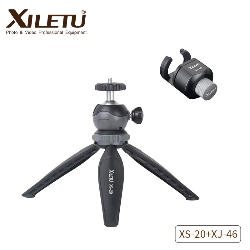 XILETU XS-20+XJ-46 Mini Desktop Compact Tripod Tabletop Tripod with Detachable Ball head and Cell Phone Holder For Smartphone