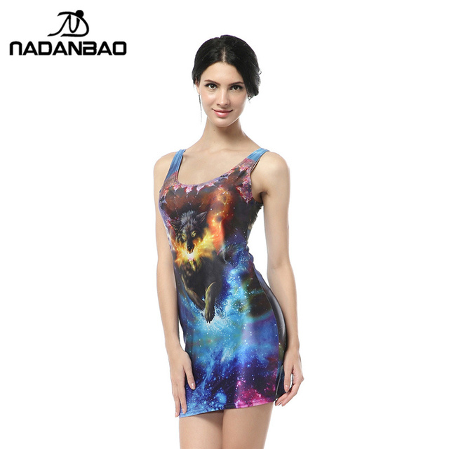 NADANBAO Herbst bandage kleider Fire Fox Kleid Tier Digital Print ...
