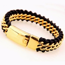 16mm Wide Gold Color Clasp Curb Link Chain Bracelet For Biker Men's Stainless Steel Jewelry Classic Black Color Leather Chain