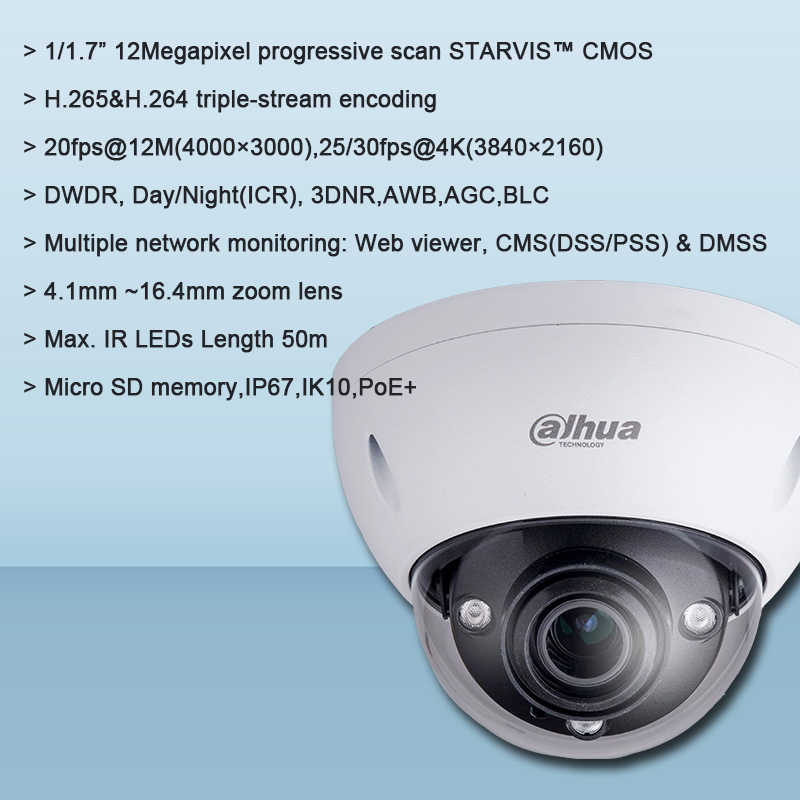 מקורי Dahua IPC-HDBW81230E-ZE 12MP IR כיפת רשת המצלמה IR 50m 4.1 ~ 16.4mm ממונע עדשת H.265 IP מצלמה IPC-HDBW81230E-ZE