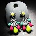 2016 New Charming Women Fashion Elegant Colorful Resin Drop Crystal Flower Earring Ear Studs