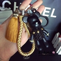 Bomgom Tassels Cartoon Popobe Gloomy Bear Keychain Cute Bag Charm Holder Cartoon Resin Key Chain   K004-gold