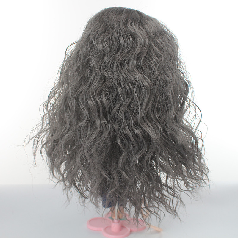 Doll Wigs Long Curly Dark Grey Hair for Blyth Pullip Doll with 25cm Head Circumference in Dolls Accessories from Toys Hobbies