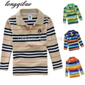 2017 Autumn Long-sleeve Polo Shirt Boy Fashion Stripe Polo Boy Turn-down Collar Long -Sleeve Shirt Plus Size  24m-14T