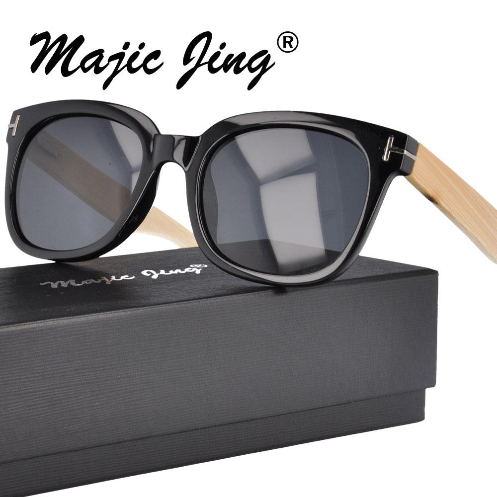 29a73327f السحر جينغ البلاستيك النظارات الشمسية مع الخيزران الربيع المفصلي معبد  الاستقطاب عدسة للرجال النساء 1209