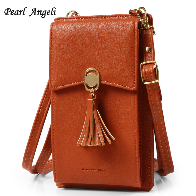 31aae48786a US $18.4 |Pearl Angeli Small Cellphone Crossbody Bag Leather Women Wallet  Card Holder Coin Purse Ladies Bag With Shoulder Strap Handbag-in Wallets ...