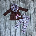 2016 new free shipping FALL/Winter baby girls OUTFITS 3 pieces scarf  brown football top bow Aztec pant  boutique clothes sets