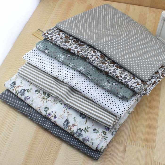 7 pcs nieuwe grijze kleur 100% Katoen Stof Fat Quarter Bundel DIY Quilten Patchwork Beddengoed Tilda Pop Doek Naaien Stof 50*50 cm