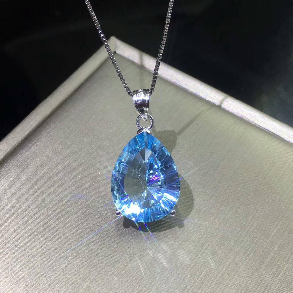 925 Sterling Silver Pendant Pear 12x16mm Real Natural blue Aquamarine Topaz 18K White Gold Plated Pendant for Girl without Chain
