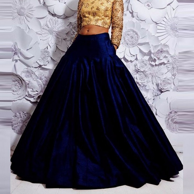 Vintage Generous Women Skirt Custom Made A Line Floor Length Long Skirt India Style Pleated Dark