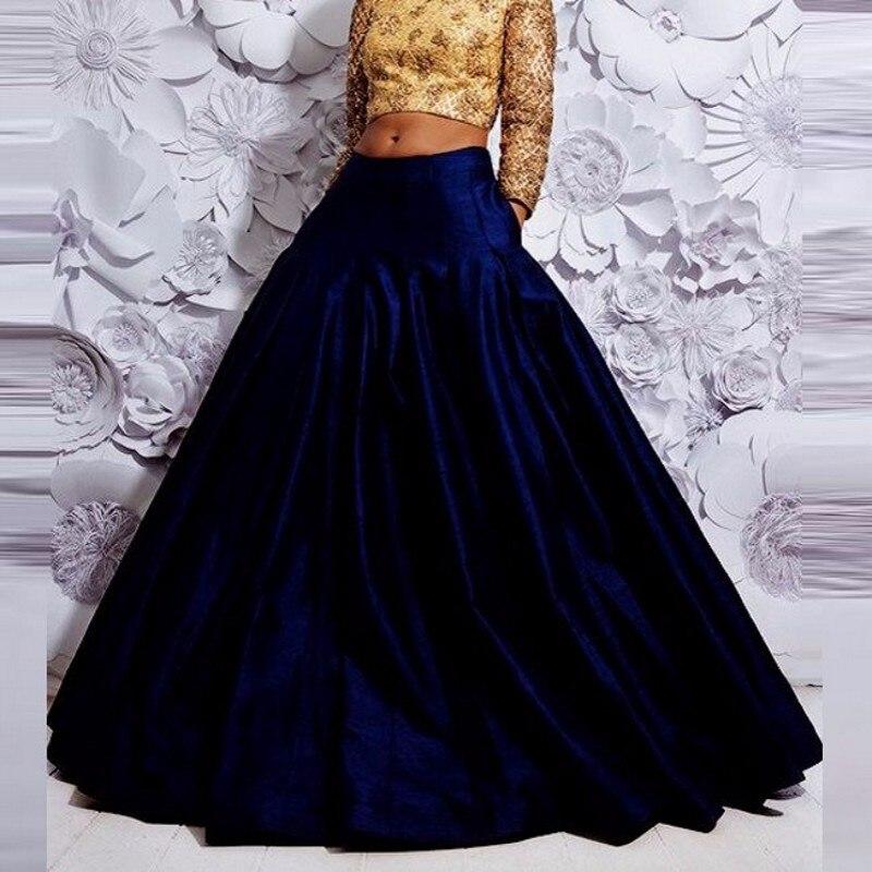 c1e84de0e Vintage generoso mujeres falda de una línea de longitud de piso falda India  estilo plisado azul ...