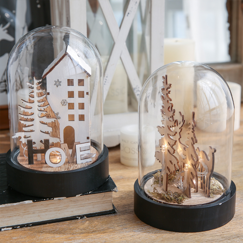 1 Piece Home Decoration Accessories Glass Dome Home Display Led Lights Decoration Christmas Decorations For Home