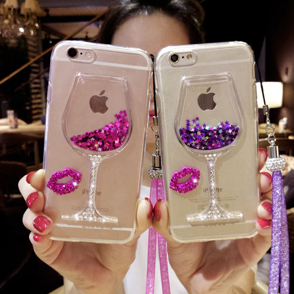 2017 Luxury Woman Lady Glass Quicksand Sand Wine Phone Case For Samsung Galaxy S8 S7 S6 Edge C5 C7 C9 J5 J7 On5 On7 A5 A7 2016