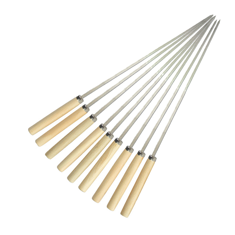 Metal bbq skewers stick barbecue tool outdoor wood handle flat non magnetic stainless steel bbq skewer
