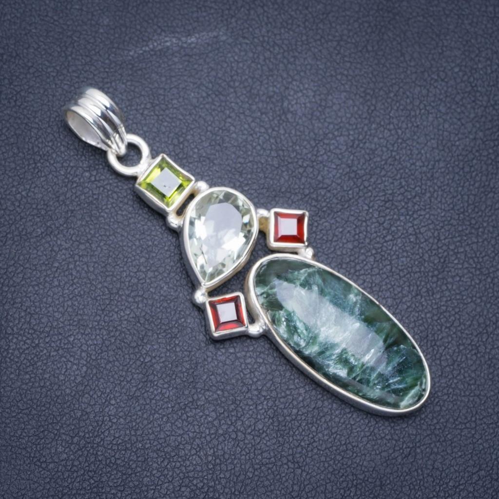 Seraphinite naturelle, améthyste verte, grenat et péridot 925 pendentif en argent Sterling 2.25