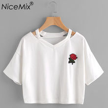 NiceMix 2019 Summer Harajuku Crop Top Women T Shirt Rose Embroidery Female V-neck Short Sleeve Cropped T-shirt Femme black long sleeves rose embroidery pattern cropped top
