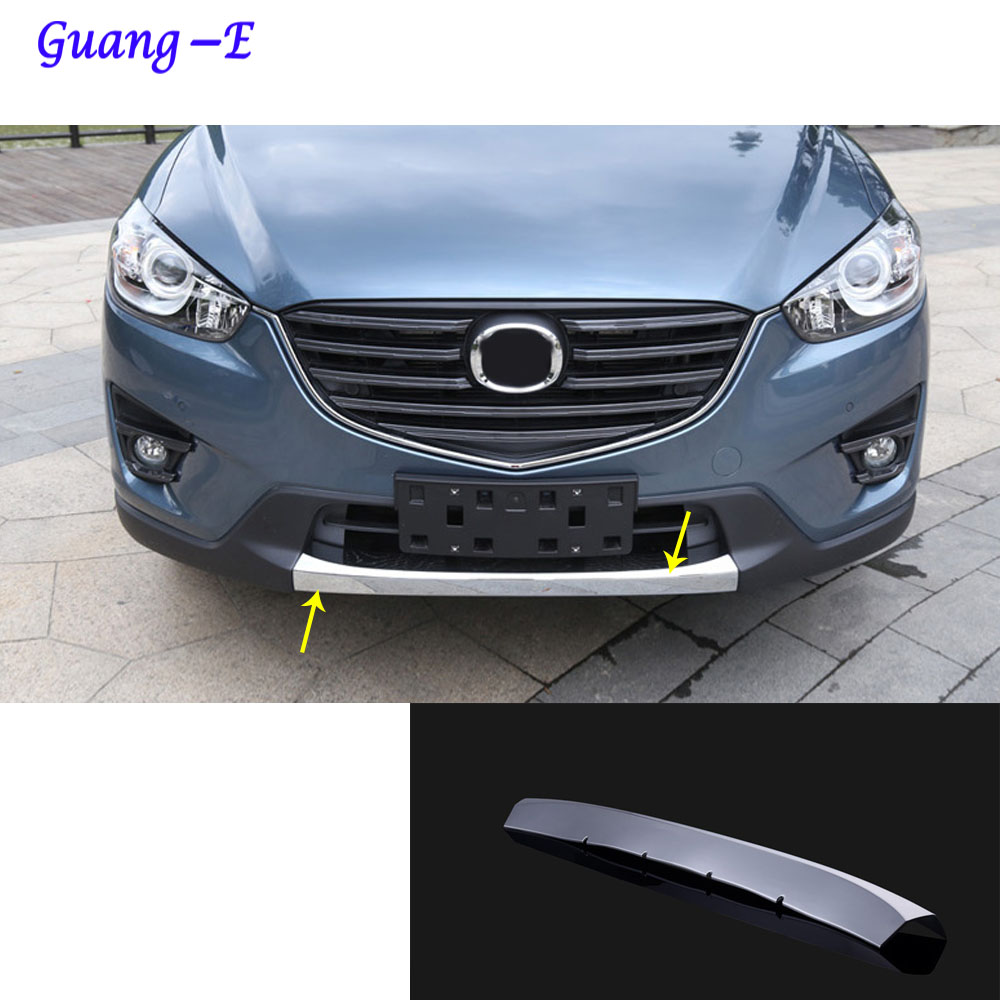 For Mazda CX-5 CX5 2013 2014 2015 2016 Car protection Bumper engine ABS Chrome trim Front bottom Grid Grill Grille hoods edge for toyota corolla altis 2014 2015 2016 car body styling cover detector abs chrome trim front up grid grill grille hoods 1pcs