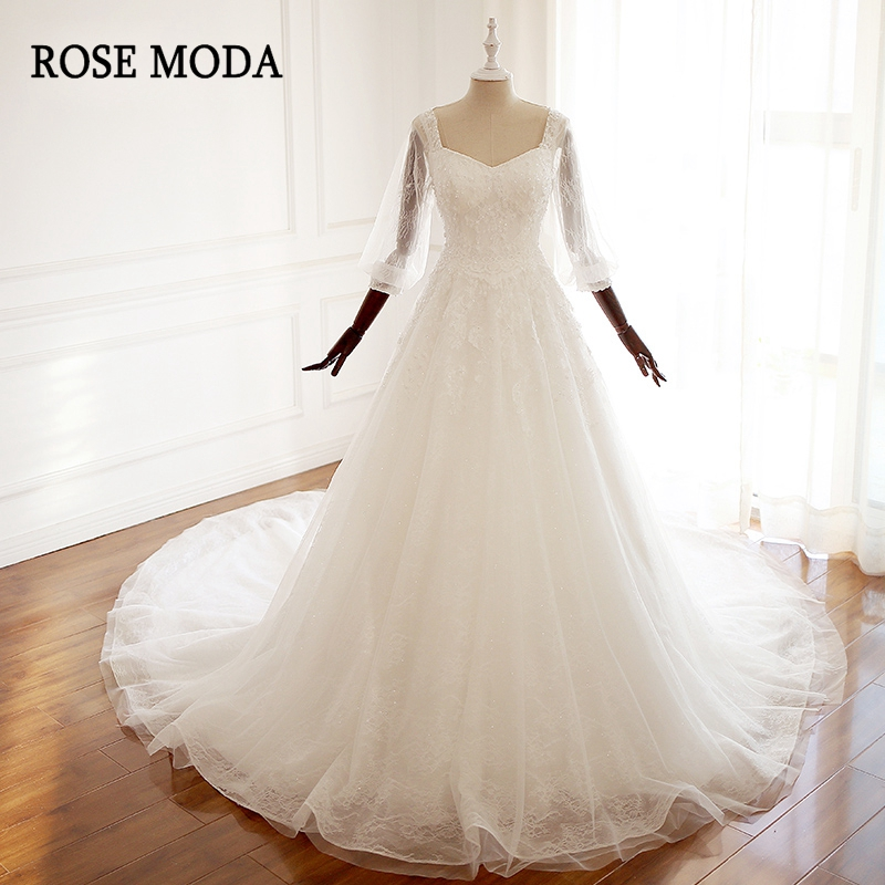 Rose Moda Vintage Wedding Dress Lace V Neck Long Sleeves