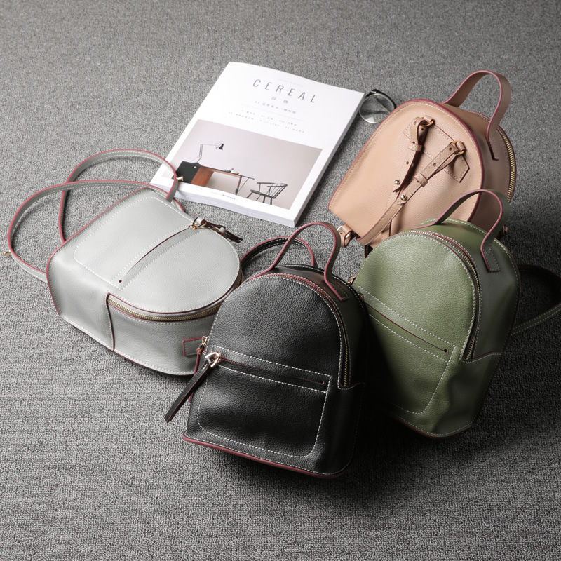 RU&BR Summer New Split Leather Shoulder Bag Female Cow Leather Small Backpack Mini Small Fresh Shoulder Bag Casual Backpacks 2017 small fresh mini shoulder bag with three pairs of ears can replace the small backpack cute modeling trend backpack y088