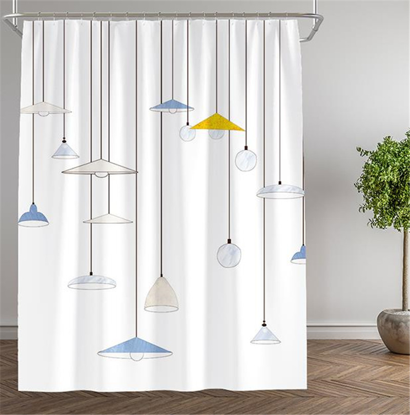 Literary Lighting Shower Curtain Waterproof Polyester Thickened Toilet Partition Bathroom With Hooks Home Decor In Curtains From