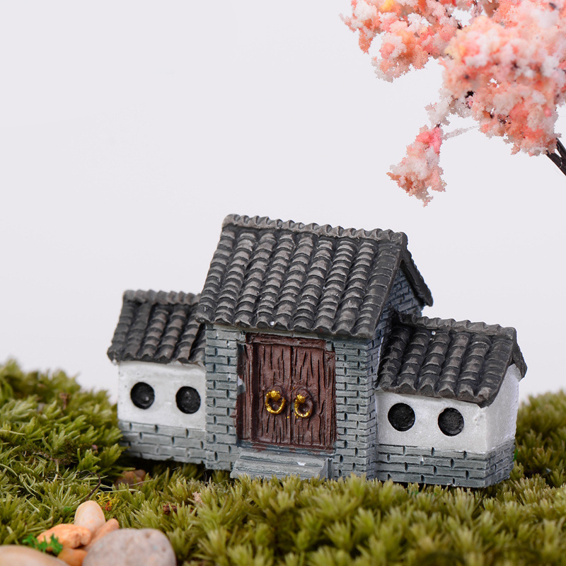 Mini Garden Desk Decoration Ornaments Home Thatched Cottage Chinese Architecture Flat Back Resin Figurine Mariage Interior Items