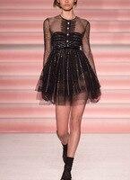 Видеть оранжевый Винтаж летнее платье для девочек со стразами Стразы сексуальное платье с длинным рукавом сетки пляжное платье SO1019