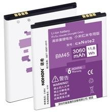 100% Оригинальные nohon Батарея 3060 мАч BM45 для Xiaomi Hongmi Redmi Note 2 красный риса Note2 высокое Ёмкость Замена батарей