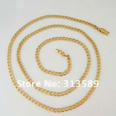 """/Min order 10$ CAN MIX DESIGN / 24"""" - YELLOW GOLD COLOR SOLID GP FILLED CUBAN CHAIN NECKLACE/Great Gift/Great Money Maker"""