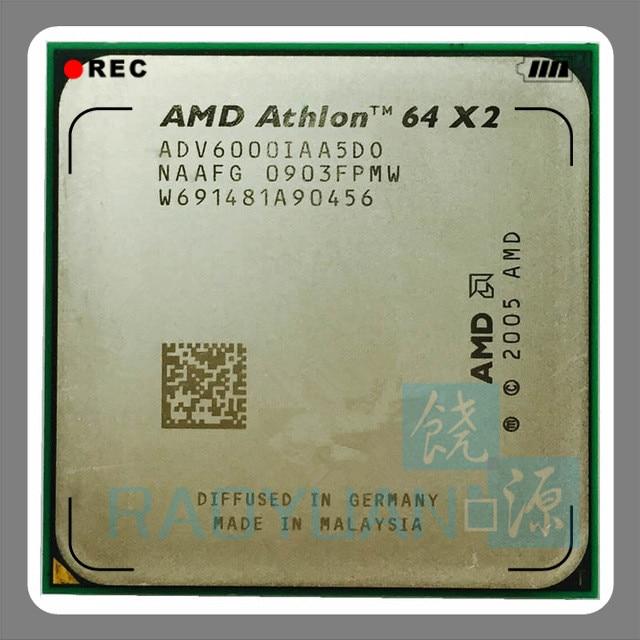 AMD Desktop CPU Athlon X2 6000 X2 6000+ 3.1GHz ADV6000IAA5DO Dual-Core CPU Processor Socket AM2 940pin