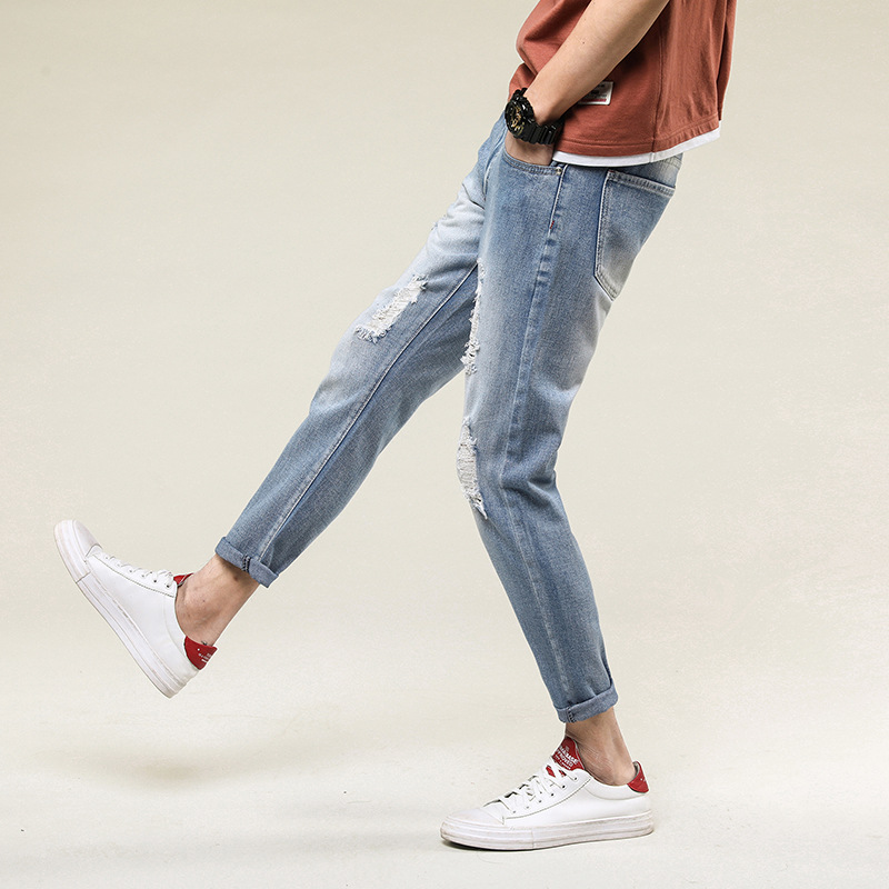 2018 New Fashion Men's Ripped Slim Fit Ninth Denim Jeans Vintage Style with Broken Holes