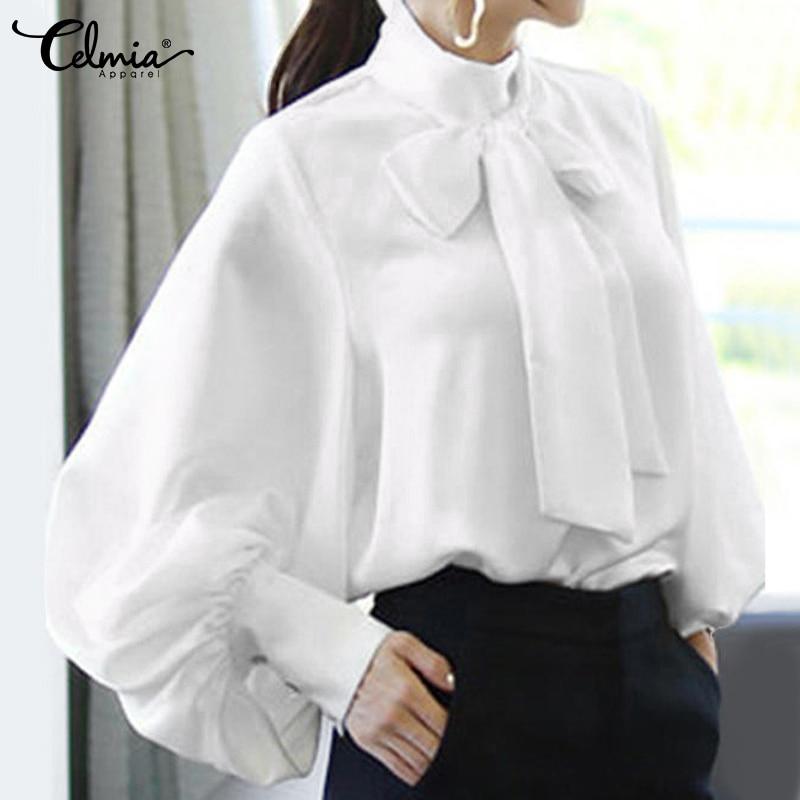 Women   Blouse   2019 Celmia Long Sleeve High Collar Office   Shirt   Solid   Blouse     Shirt   Bow Tie Casual Top Plus Size Blusas Femininas