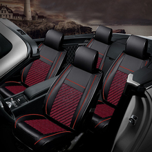6D Ice Silk Auto Car Seat Covers Automotive for Most of car 5 Four Season Black+Red
