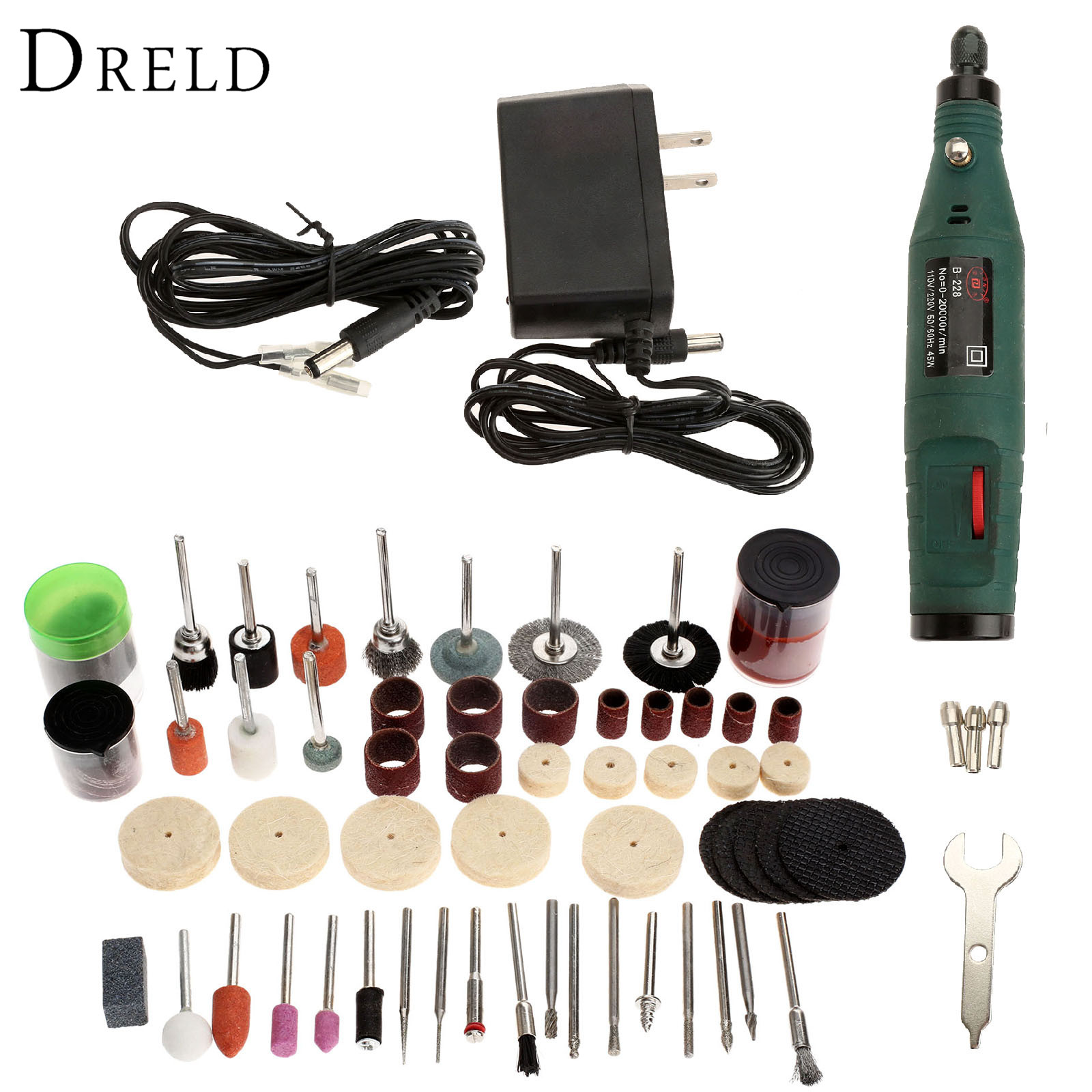 DRELD 12V Mini Grinding Machine Electric Drill Die Grinder Electric Tool+100Pcs Grinding Polishing Sanding Tools for Rotary Tool  цены