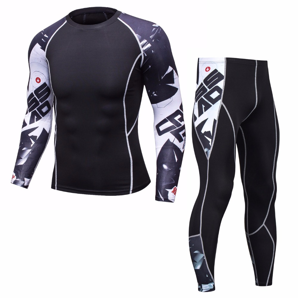 Mens Skin Tight Compression Leggings Base Layer Black Running Star Pants 124