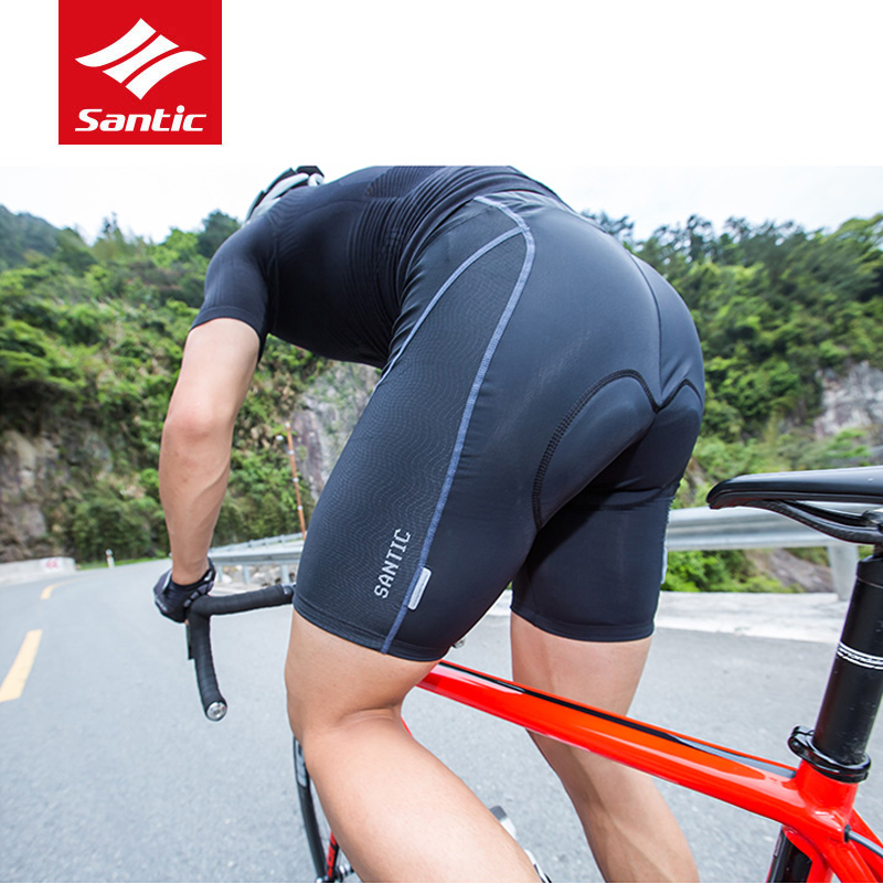 Santic Professional Men Cycling Padded Shorts Hight Quality Coolmax 4D Pad Shockproof Breathable MTB Road Bike