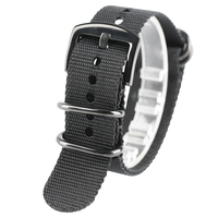 Nylon Watchband 20mm 22mm 24mm Black Army Green Durable Nato Canva Watch Strap Black Silver Buckle