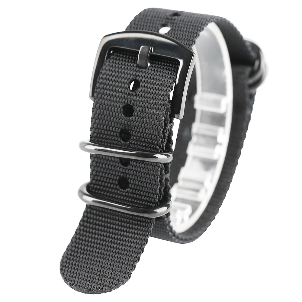Nylon Watchband 20mm 22mm 24mm Black Army Green Durable Nato Canva Watch Strap Black Silver Buckle Sport Casual Army Hour Band top grade vintage calfskin genuine leather watch strap 20mm army green tan dark blue green maroon black watchband with buckle