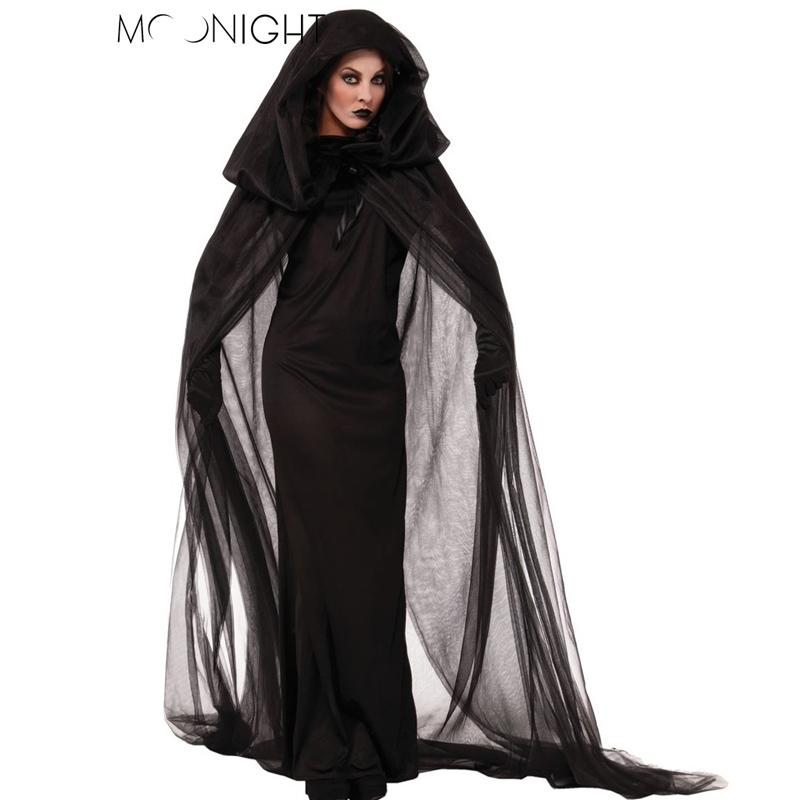 MOONIGHT Halloween Costume For Women Witch Costume Black Gothic Witch Costume Adult Witch Fancy Dress Witch Wicked Cosplay